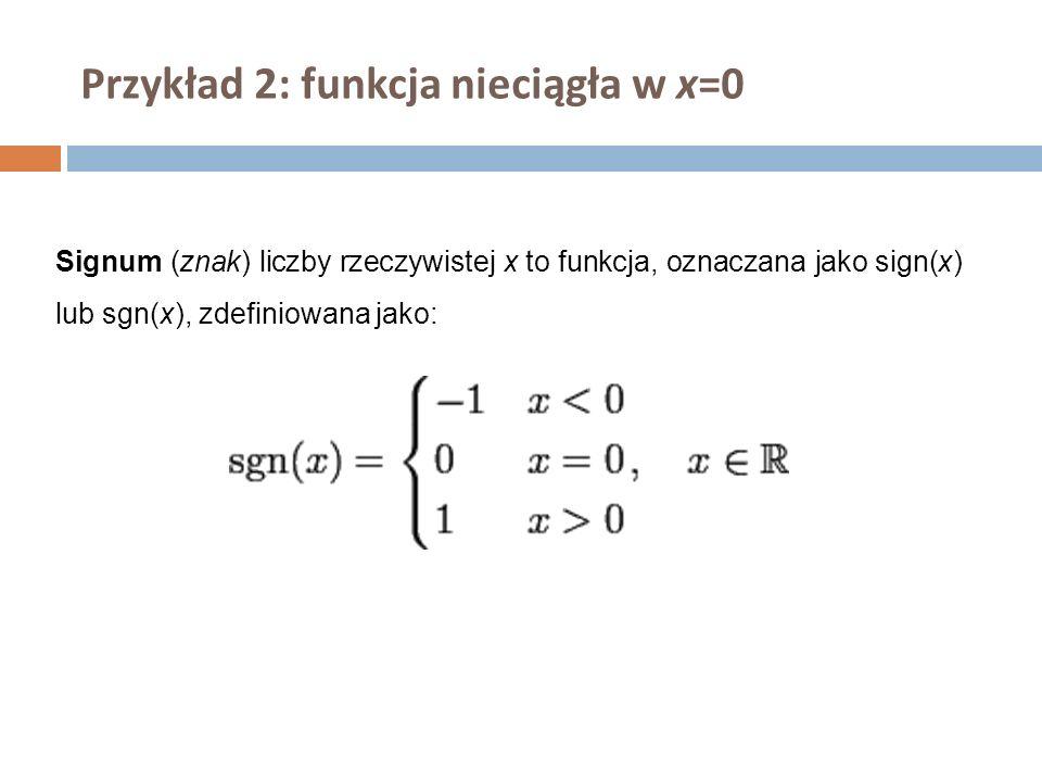 Przykład 2: funkcja nieciągła w x=0 Signum (znak) liczby rzeczywistej x to funkcja, oznaczana jako sign(x) lub sgn(x), zdefiniowana jako:
