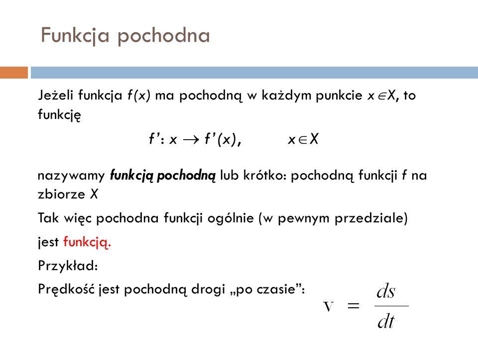 Funkcja pochodna Jeżeli funkcja f(x) ma pochodną w każdym punkcie x  X, to funkcję f': x  f'(x), x  X nazywamy funkcją pochodną lub krótko: pochodną funkcji f na zbiorze X Tak więc pochodna funkcji ogólnie (w pewnym przedziale) jest funkcją.