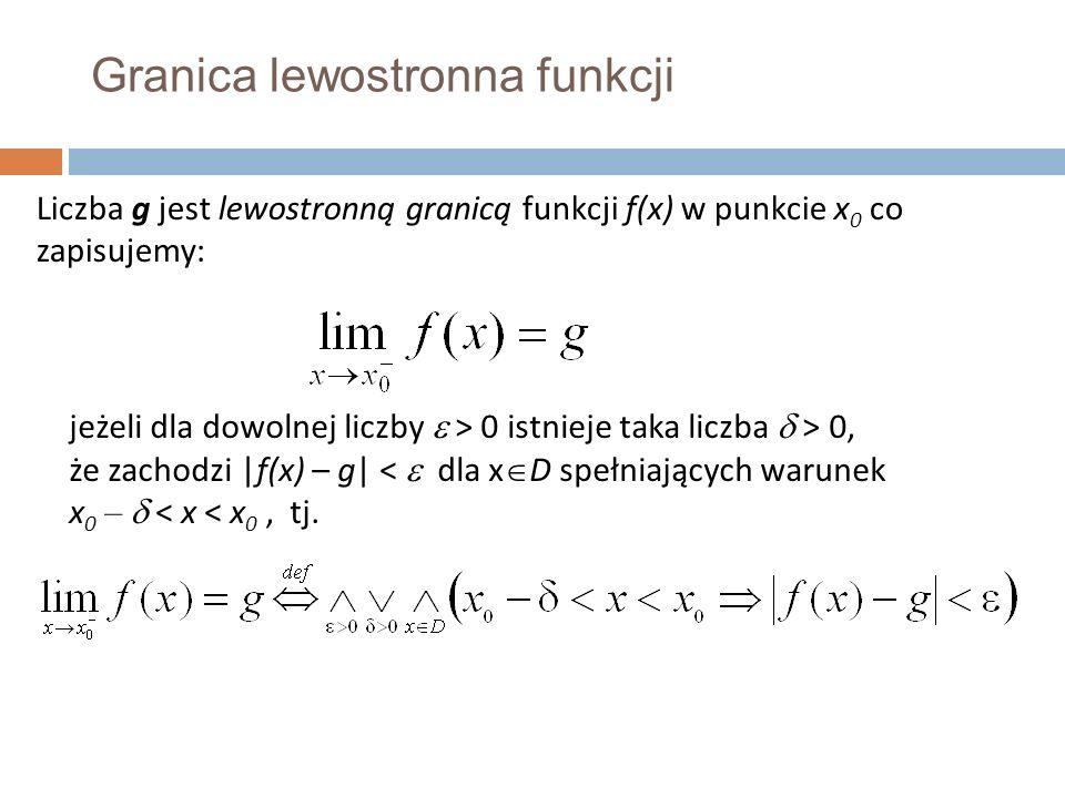 Granica lewostronna funkcji Liczba g jest lewostronną granicą funkcji f(x) w punkcie x 0 co zapisujemy: jeżeli dla dowolnej liczby  > 0 istnieje taka liczba  > 0, że zachodzi |f(x) – g| <  dla x  D spełniających warunek x 0 –  < x < x 0, tj.