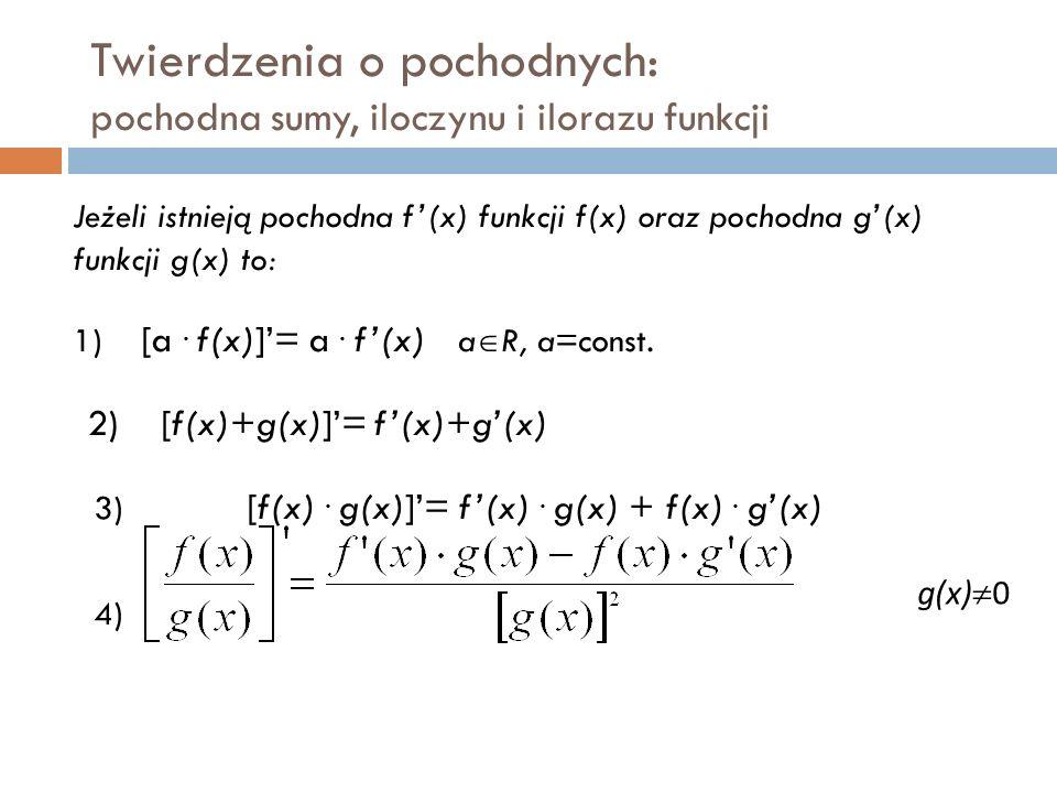 Twierdzenia o pochodnych: pochodna sumy, iloczynu i ilorazu funkcji Jeżeli istnieją pochodna f'(x) funkcji f(x) oraz pochodna g'(x) funkcji g(x) to: 1) [a.