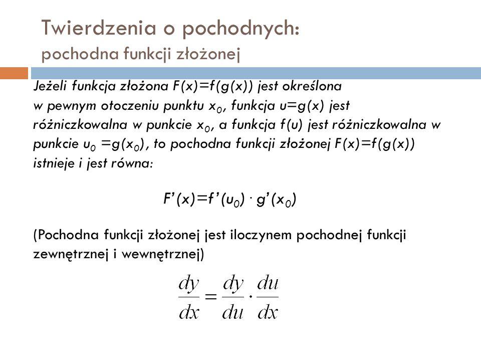 Twierdzenia o pochodnych: pochodna funkcji złożonej Jeżeli funkcja złożona F(x)=f(g(x)) jest określona w pewnym otoczeniu punktu x 0, funkcja u=g(x) jest różniczkowalna w punkcie x 0, a funkcja f(u) jest różniczkowalna w punkcie u 0 =g(x 0 ), to pochodna funkcji złożonej F(x)=f(g(x)) istnieje i jest równa: F'(x)=f'(u 0 ).