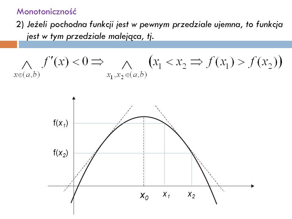 Monotoniczność 2)Jeżeli pochodna funkcji jest w pewnym przedziale ujemna, to funkcja jest w tym przedziale malejąca, tj.