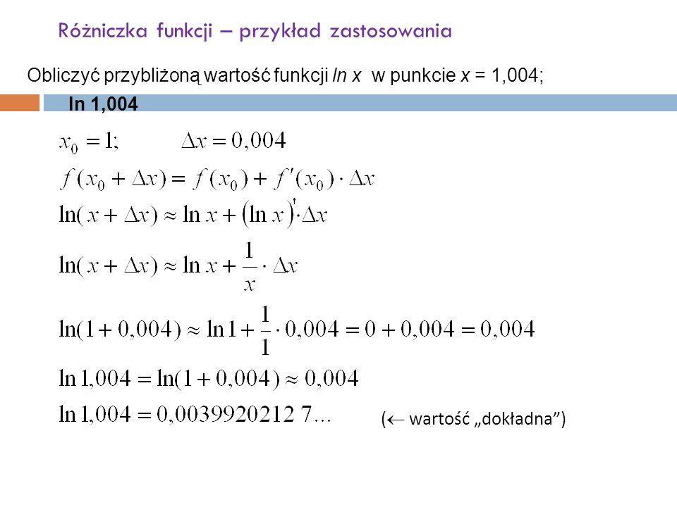 """Różniczka funkcji – przykład zastosowania Obliczyć przybliżoną wartość funkcji ln x w punkcie x = 1,004; ln 1,004 (  wartość """"dokładna )"""