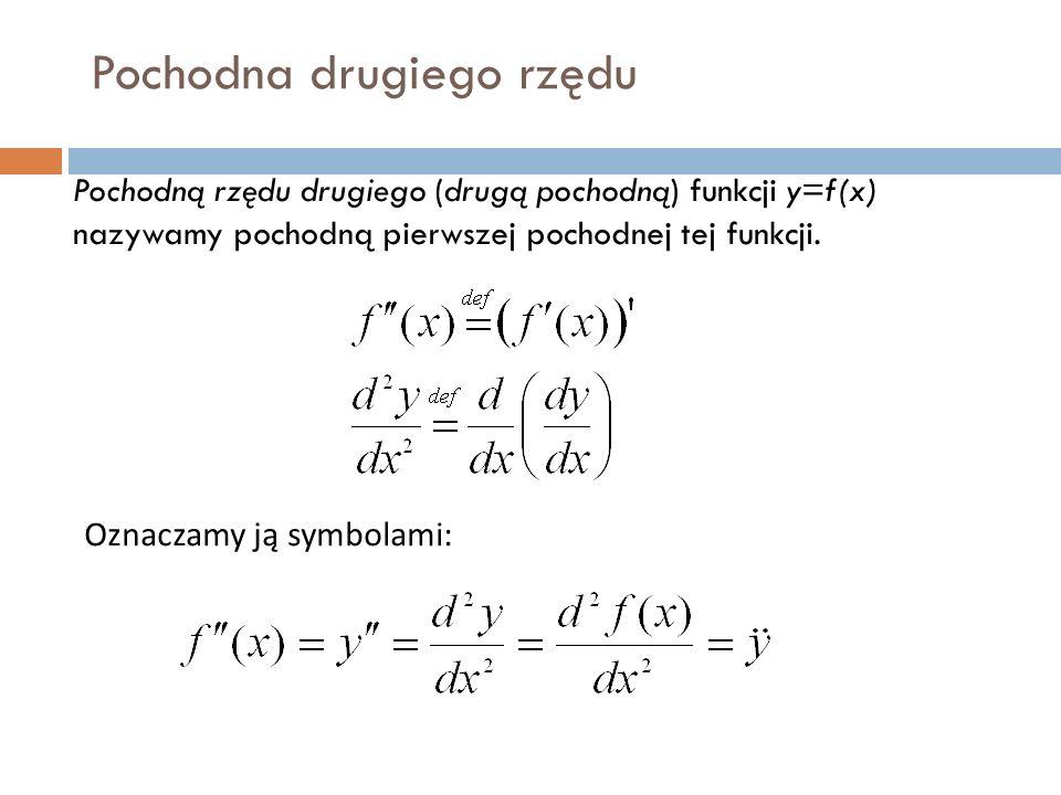 Pochodna drugiego rzędu Pochodną rzędu drugiego (drugą pochodną) funkcji y=f(x) nazywamy pochodną pierwszej pochodnej tej funkcji.