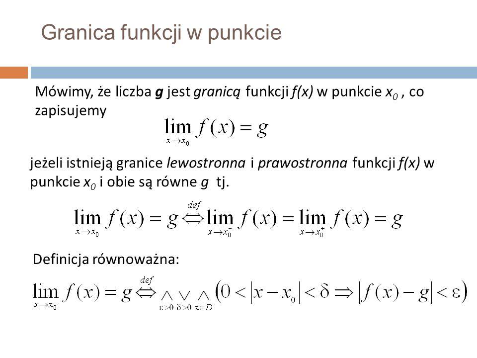 Granica funkcji w punkcie Mówimy, że liczba g jest granicą funkcji f(x) w punkcie x 0, co zapisujemy jeżeli istnieją granice lewostronna i prawostronna funkcji f(x) w punkcie x 0 i obie są równe g tj.