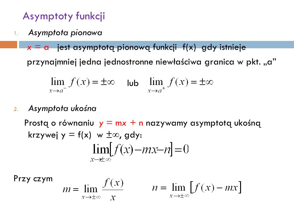 Asymptoty funkcji 1.