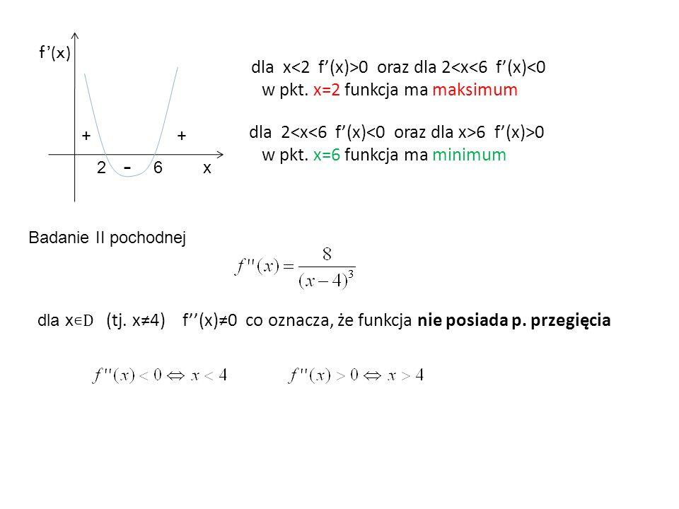 dla x 0 oraz dla 2<x<6 f'(x)<0 w pkt. x=2 funkcja ma maksimum dla 2 6 f'(x)>0 w pkt.