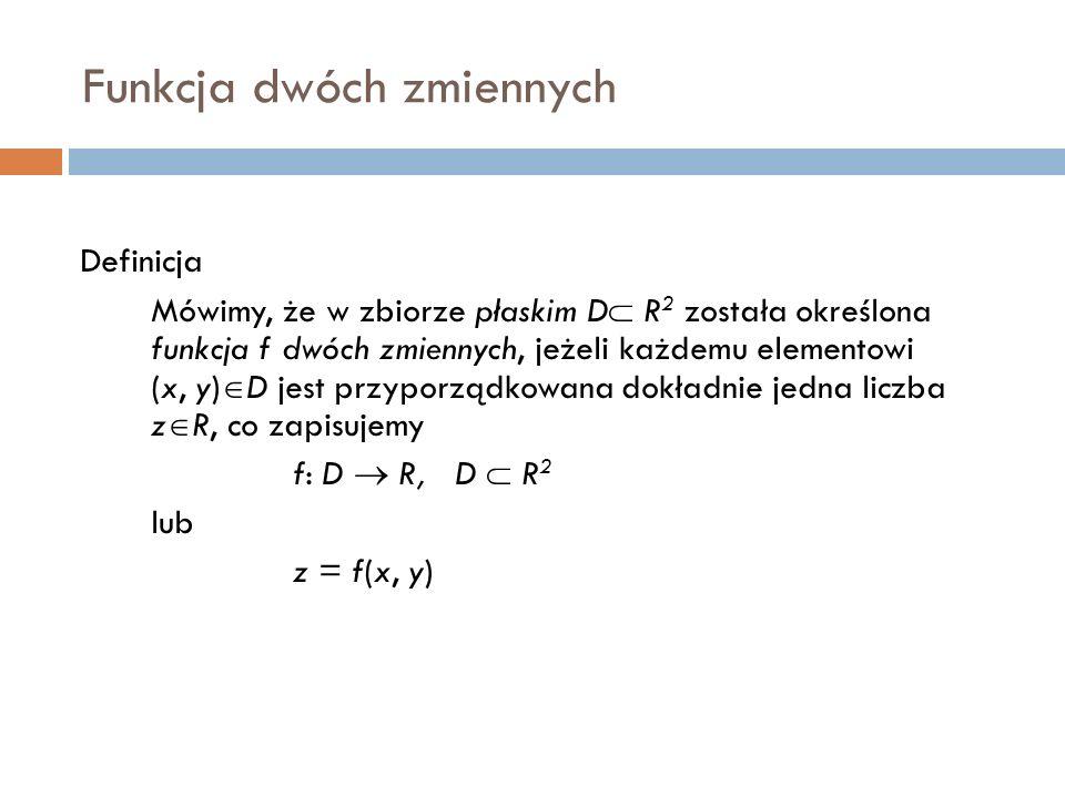 Funkcja dwóch zmiennych Definicja Mówimy, że w zbiorze płaskim D  R 2 została określona funkcja f dwóch zmiennych, jeżeli każdemu elementowi (x, y)  D jest przyporządkowana dokładnie jedna liczba z  R, co zapisujemy f: D  R, D  R 2 lub z = f(x, y)