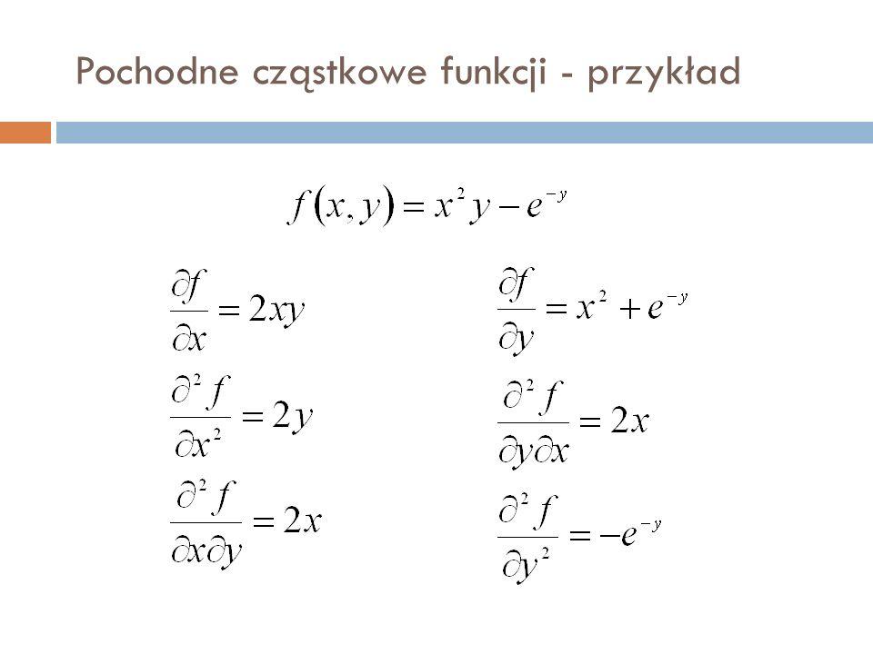 Pochodne cząstkowe funkcji - przykład