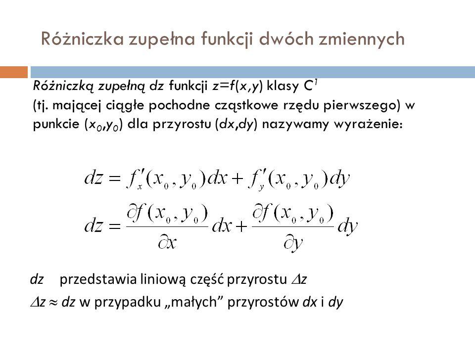 Różniczka zupełna funkcji dwóch zmiennych Różniczką zupełną dz funkcji z=f(x,y) klasy C 1 (tj.
