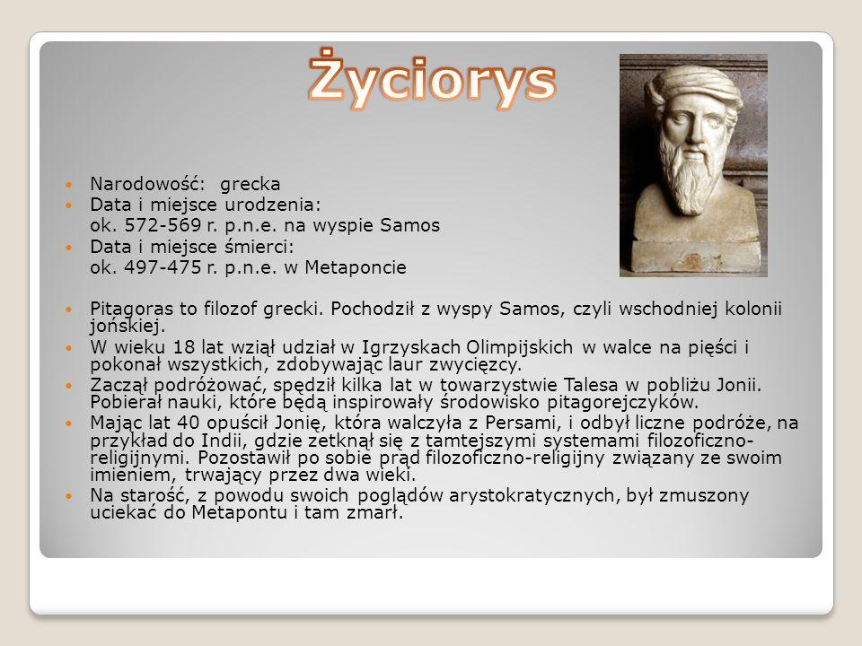 Narodowość: grecka Data i miejsce urodzenia: ok. 572-569 r.