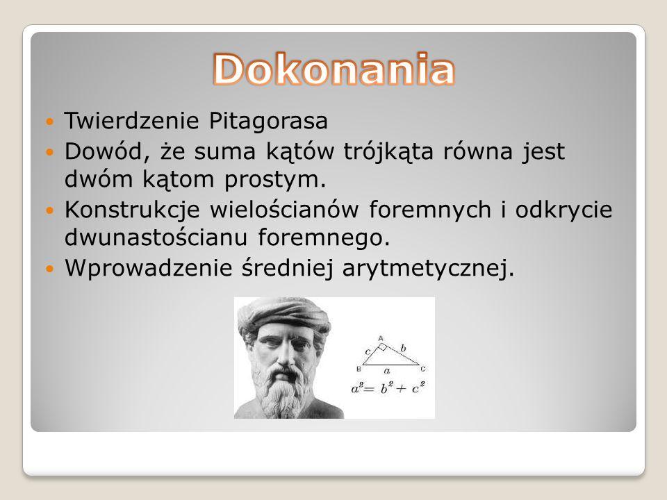 Twierdzenie Pitagorasa Dowód, że suma kątów trójkąta równa jest dwóm kątom prostym.