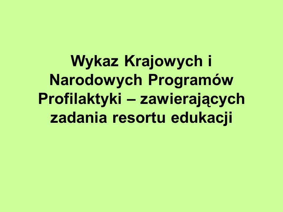 Wykaz Krajowych i Narodowych Programów Profilaktyki – zawierających zadania resortu edukacji