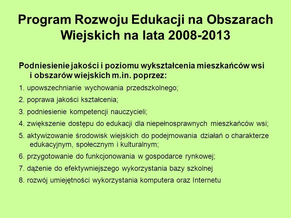 Program Rozwoju Edukacji na Obszarach Wiejskich na lata 2008-2013 Podniesienie jakości i poziomu wykształcenia mieszkańców wsi i obszarów wiejskich m.in.