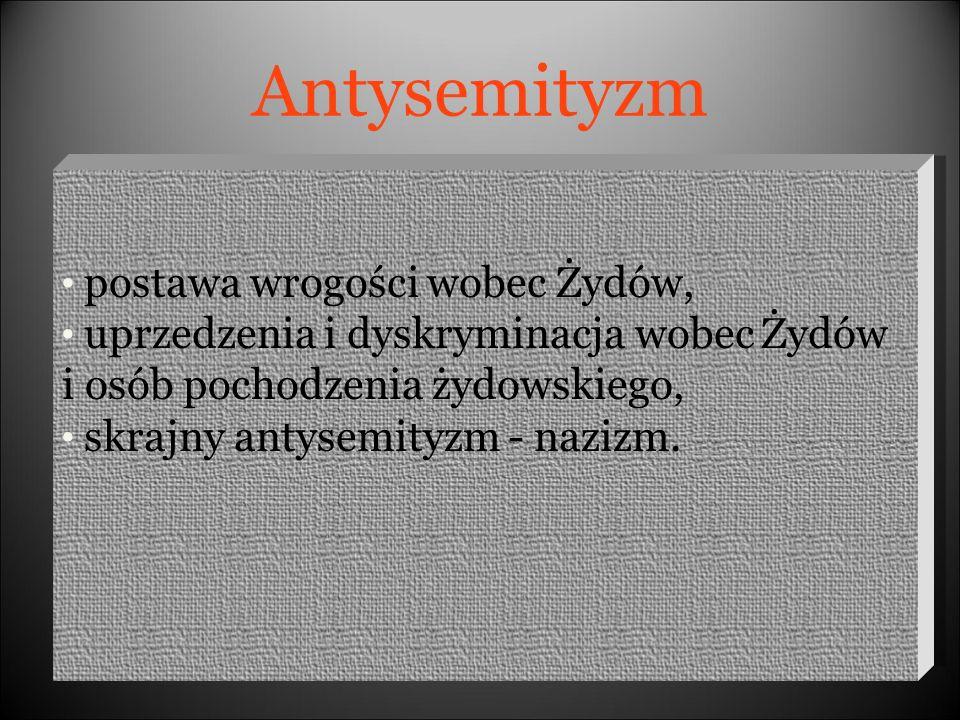 WYKORZYSTANE ŹRÓDŁA http://www.racjonalista.pl/kk.php/s,357 http://www.dyskusje.katolik.pl/viewtopic.php?t=14547&sid=aa9cc34709 e310e51a2bbccb2f59edf8 http://www.diapozytyw.pl/pl/site/temat/dzien_judaizmu http://pl.wikipedia.org/wiki/Antysemityzm http://www.wolnelektury.pl/katalog/antysemityzm/ http://www.polityka.pl/polityka/index.jsp?place=Lead33&news_cat_id= 1734&news_id=254099&layout=18&forum_id=15007&fpage=Threads &page=text