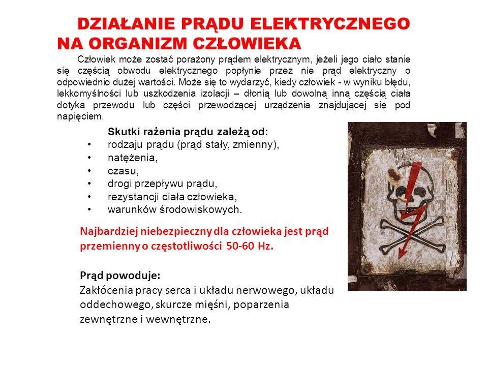 DZIAŁANIE PRĄDU ELEKTRYCZNEGO NA ORGANIZM CZŁOWIEKA Człowiek może zostać porażony prądem elektrycznym, jeżeli jego ciało stanie się częścią obwodu elektrycznego popłynie przez nie prąd elektryczny o odpowiednio dużej wartości.