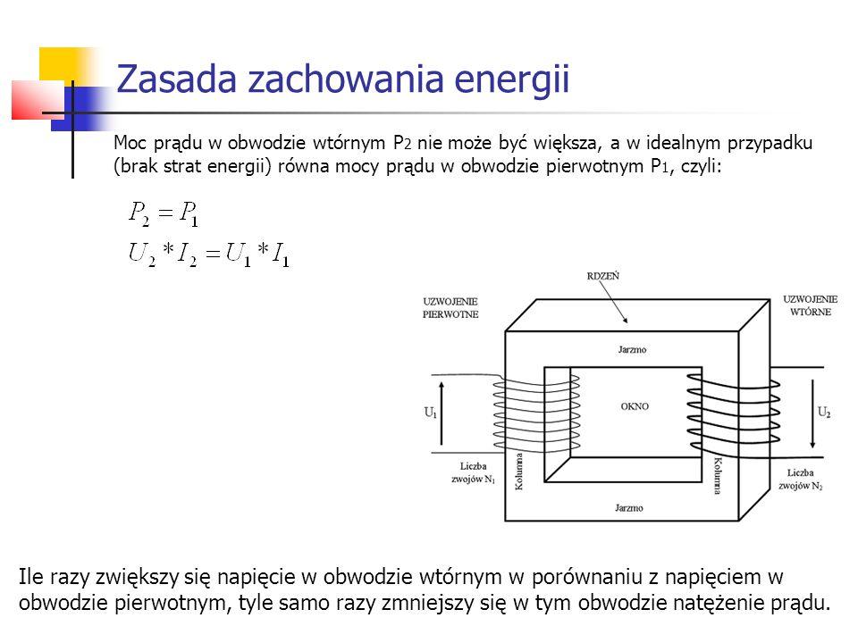Zasada zachowania energii Moc prądu w obwodzie wtórnym P 2 nie może być większa, a w idealnym przypadku (brak strat energii) równa mocy prądu w obwodz