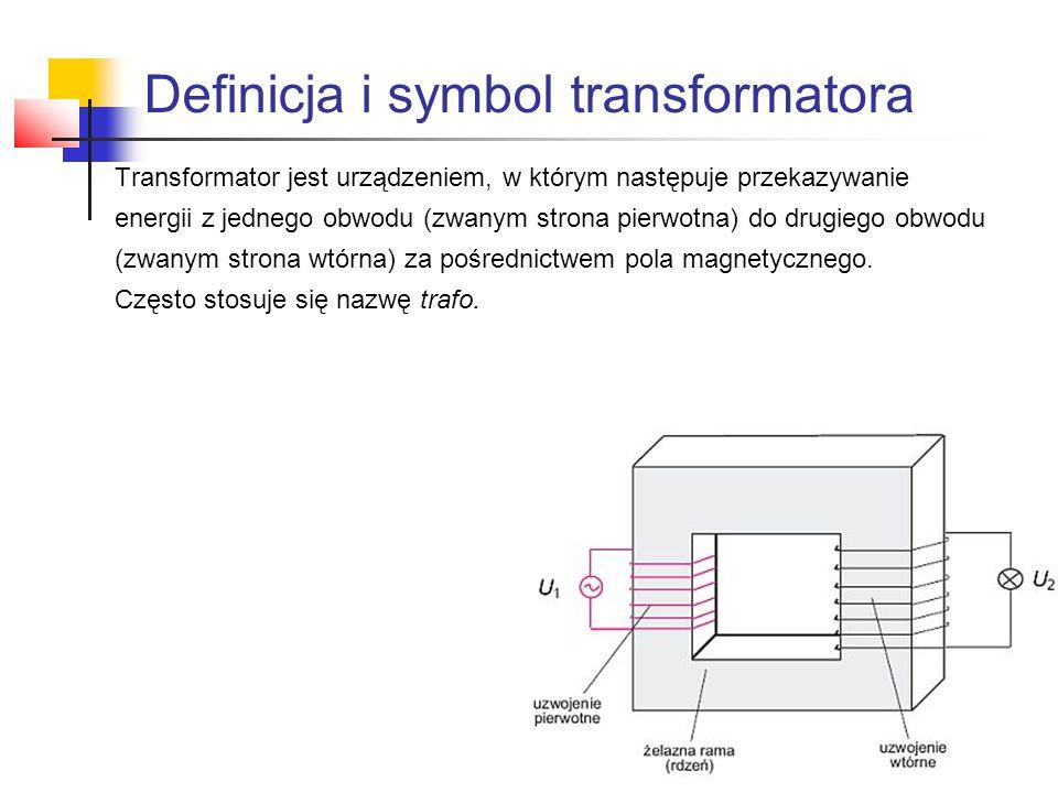Definicja i symbol transformatora Transformator jest urządzeniem, w którym następuje przekazywanie energii z jednego obwodu (zwanym strona pierwotna)