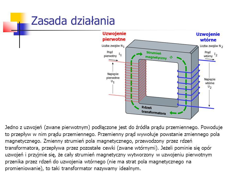 Zasada działania Jedno z uzwojeń (zwane pierwotnym) podłączone jest do źródła prądu przemiennego. Powoduje to przepływ w nim prądu przemiennego. Przem
