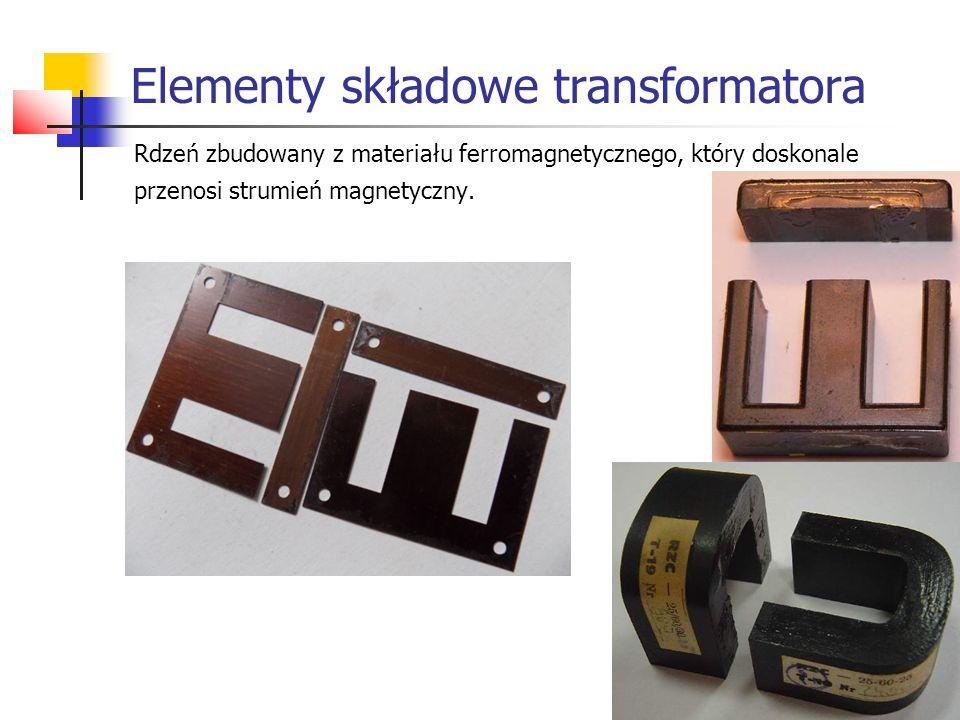 Rdzeń zbudowany z materiału ferromagnetycznego, który doskonale przenosi strumień magnetyczny. Elementy składowe transformatora