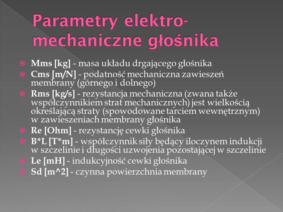  Mms [kg] - masa układu drgającego głośnika  Cms [m/N] - podatność mechaniczna zawieszeń membrany (górnego i dolnego)  Rms [kg/s] - rezystancja mechaniczna (zwana także współczynnikiem strat mechanicznych) jest wielkością określającą straty (spowodowane tarciem wewnętrznym) w zawieszeniach membrany głośnika  Re [Ohm] - rezystancję cewki głośnika  B*L [T*m] - współczynnik siły będący iloczynem indukcji w szczelinie i długości uzwojenia pozostającej w szczelinie  Le [mH] - indukcyjność cewki głośnika  Sd [m^2] - czynna powierzchnia membrany