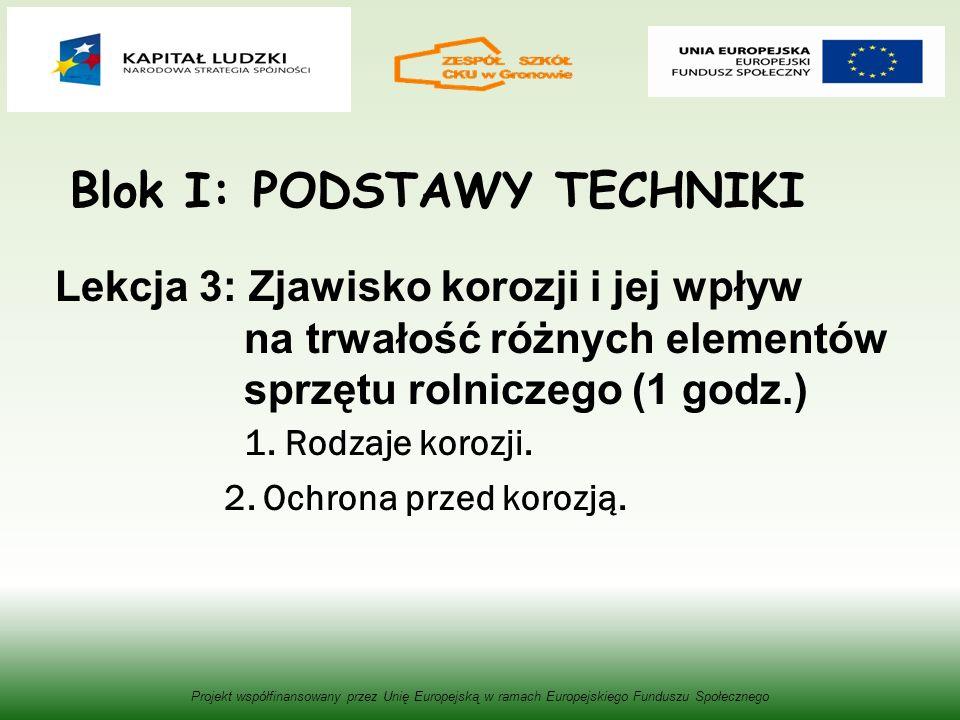 Blok I: PODSTAWY TECHNIKI Lekcja 3: Zjawisko korozji i jej wpływ na trwałość różnych elementów sprzętu rolniczego (1 godz.) 1.