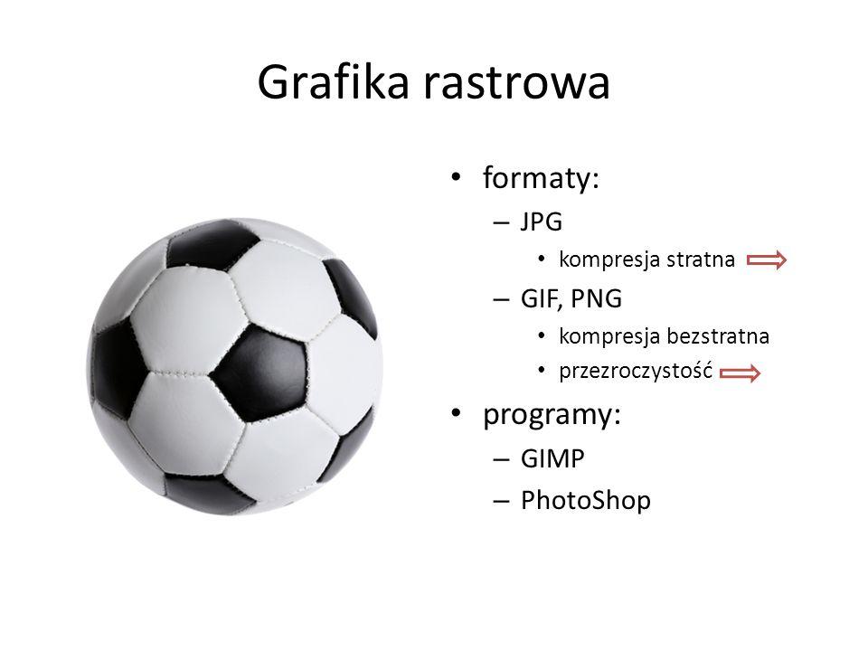 Grafika rastrowa formaty: – JPG kompresja stratna – GIF, PNG kompresja bezstratna przezroczystość programy: – GIMP – PhotoShop