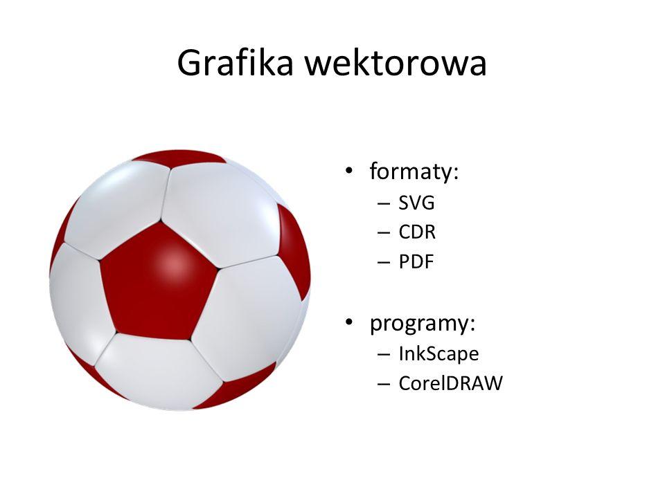 Grafika wektorowa formaty: – SVG – CDR – PDF programy: – InkScape – CorelDRAW