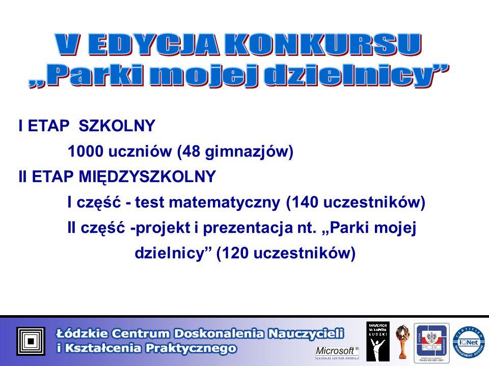 I ETAP SZKOLNY 1000 uczniów (48 gimnazjów) II ETAP MIĘDZYSZKOLNY I część - test matematyczny (140 uczestników) II część -projekt i prezentacja nt.