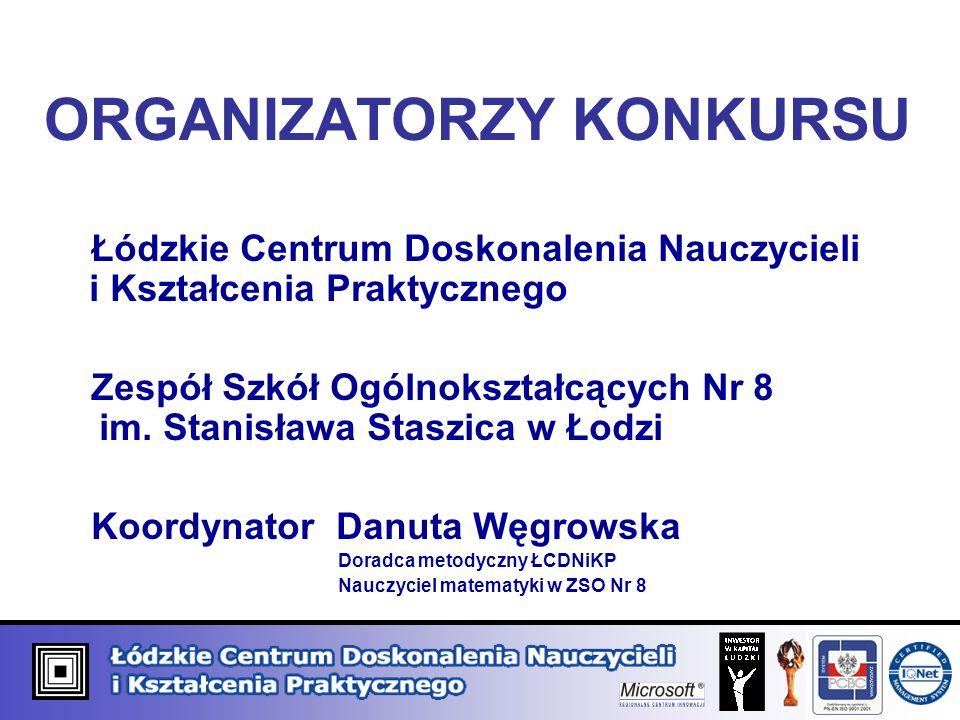 ORGANIZATORZY KONKURSU Łódzkie Centrum Doskonalenia Nauczycieli i Kształcenia Praktycznego Zespół Szkół Ogólnokształcących Nr 8 im. Stanisława Staszic
