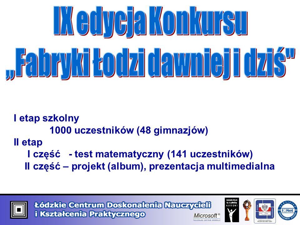 I etap szkolny 1000 uczestników (48 gimnazjów) II etap I część - test matematyczny (141 uczestników) II część – projekt (album), prezentacja multimedi