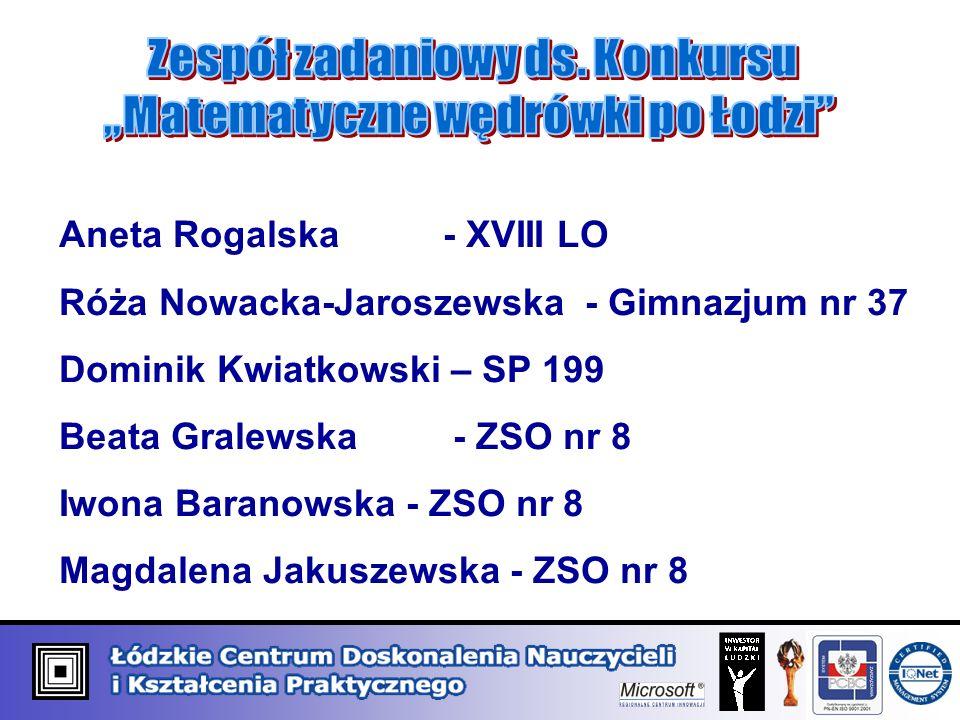 Aneta Rogalska- XVIII LO Róża Nowacka-Jaroszewska - Gimnazjum nr 37 Dominik Kwiatkowski – SP 199 Beata Gralewska - ZSO nr 8 Iwona Baranowska - ZSO nr 8 Magdalena Jakuszewska - ZSO nr 8