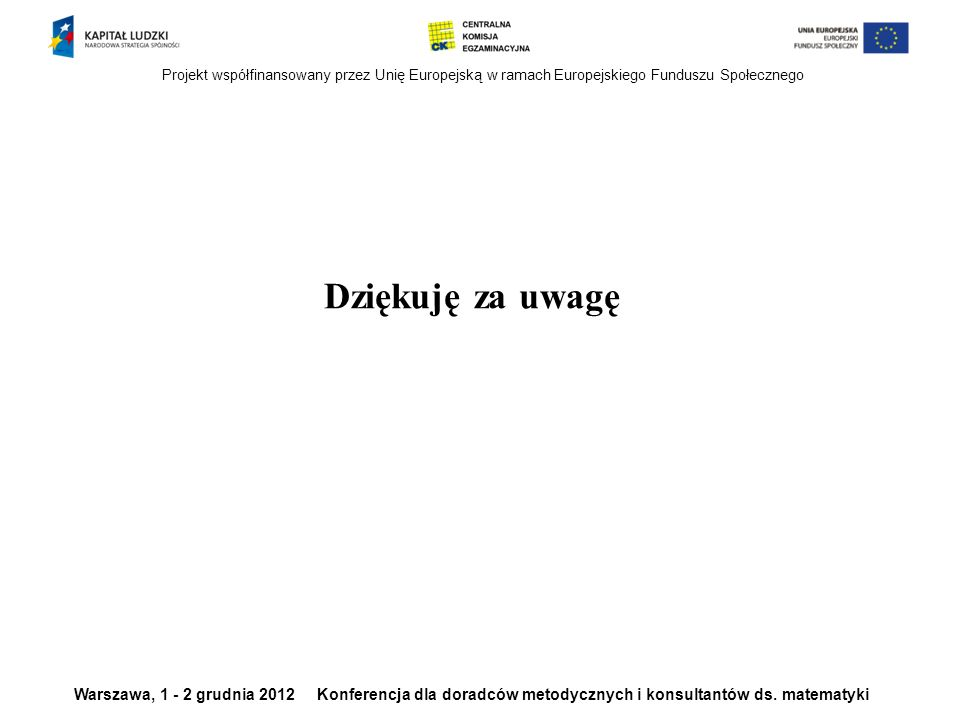 Projekt współfinansowany przez Unię Europejską w ramach Europejskiego Funduszu Społecznego Warszawa, 1 - 2 grudnia 2012 Konferencja dla doradców metodycznych i konsultantów ds.