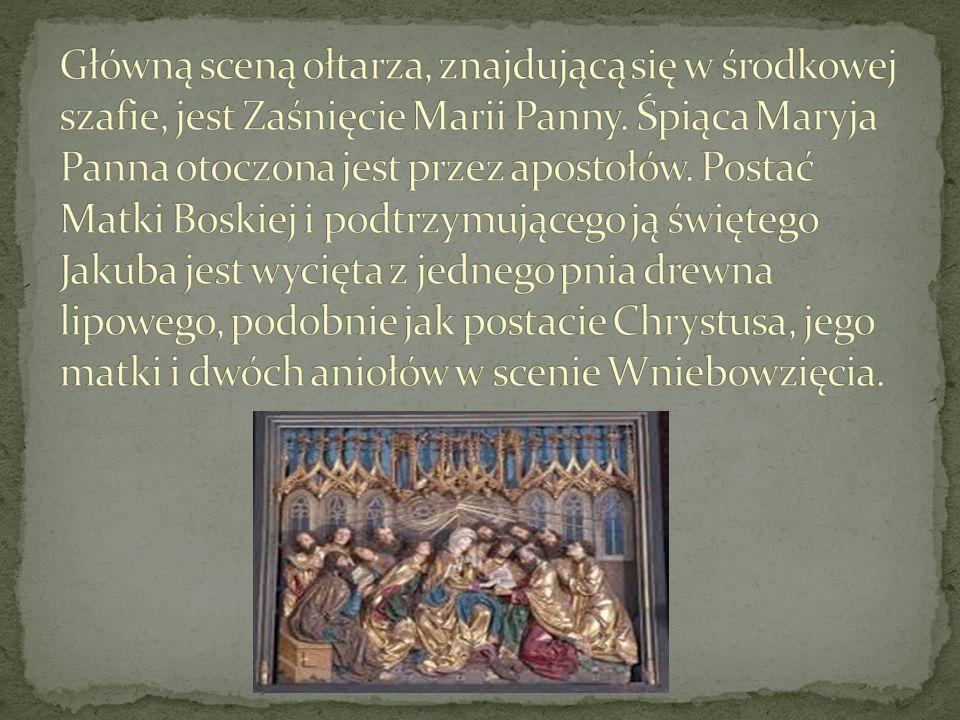 Otwarty ołtarz na ruchomych skrzydłach ilustruje sześć Radości Maryi: od Zwiastowania po Zesłanie Ducha Świętego.