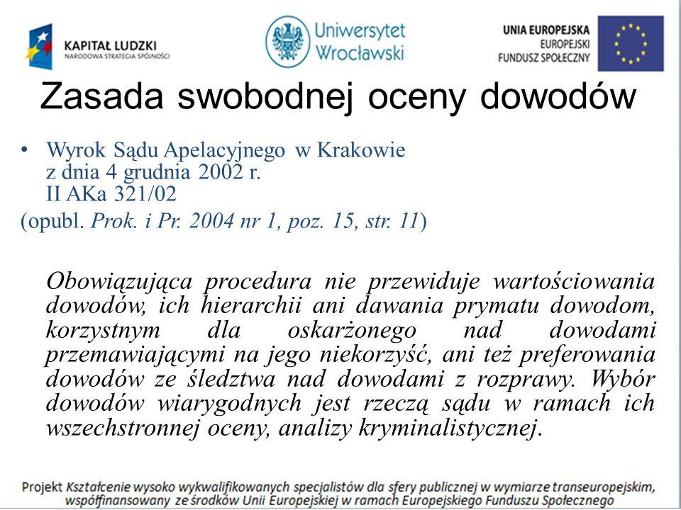 Zasada swobodnej oceny dowodów Wyrok Sądu Apelacyjnego w Krakowie z dnia 4 grudnia 2002 r. II AKa 321/02 (opubl. Prok. i Pr. 2004 nr 1, poz. 15, str.