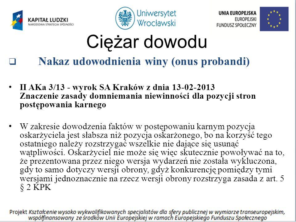 Ciężar dowodu  Nakaz udowodnienia winy (onus probandi) II AKa 3/13 - wyrok SA Kraków z dnia 13-02-2013 Znaczenie zasady domniemania niewinności dla pozycji stron postępowania karnego W zakresie dowodzenia faktów w postępowaniu karnym pozycja oskarżyciela jest słabsza niż pozycja oskarżonego, bo na korzyść tego ostatniego należy rozstrzygać wszelkie nie dające się usunąć wątpliwości.