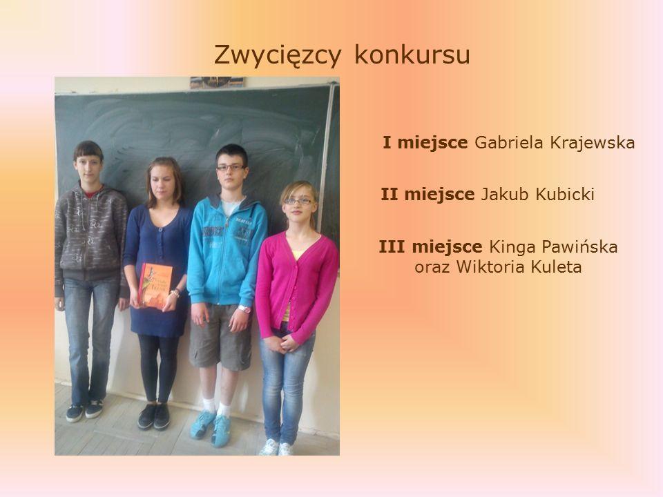 Zwycięzcy konkursu I miejsce Gabriela Krajewska III miejsce Kinga Pawińska oraz Wiktoria Kuleta II miejsce Jakub Kubicki