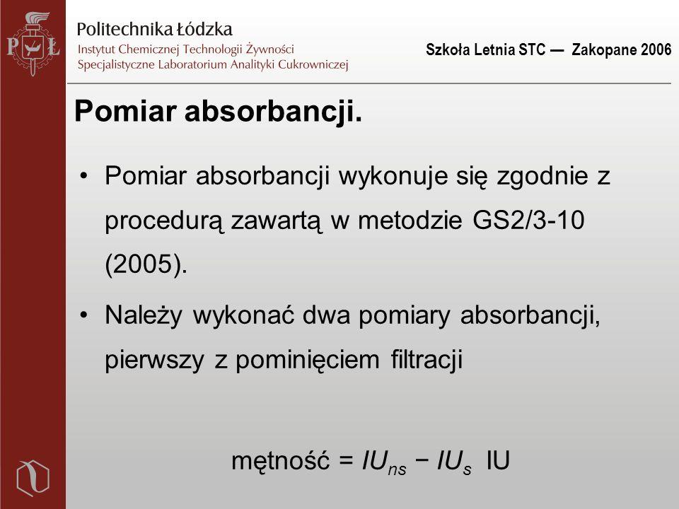 Szkoła Letnia STC — Zakopane 2006 Pomiar absorbancji.