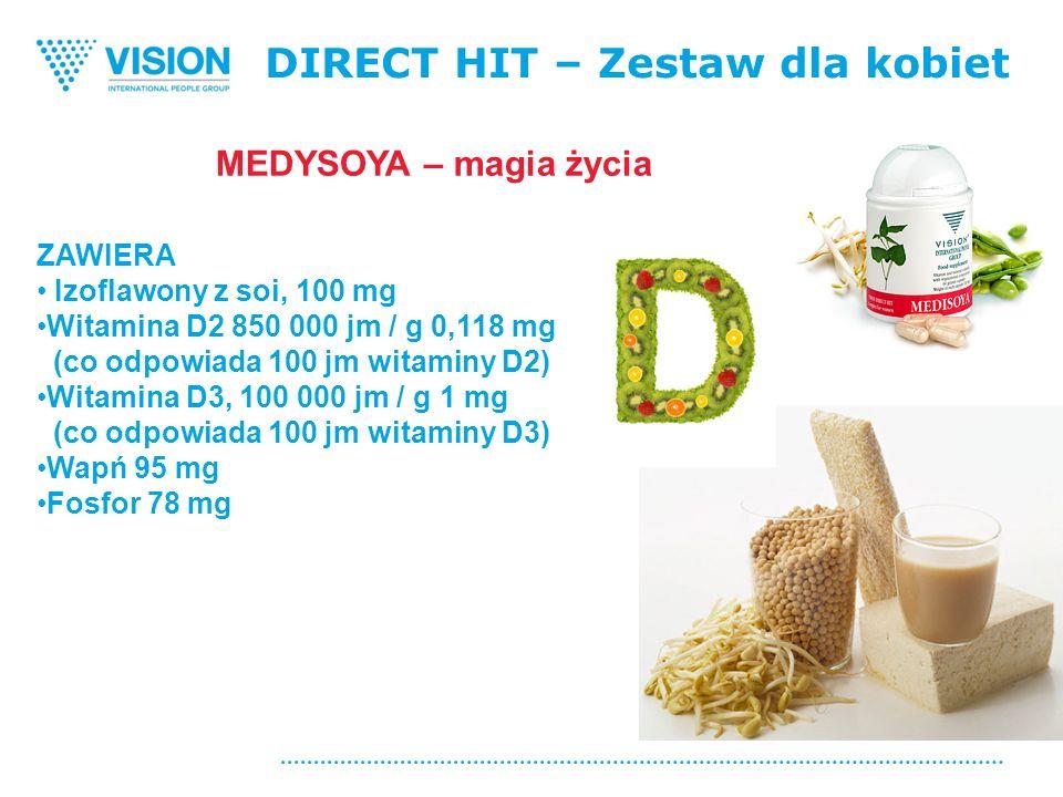 DIRECT HIT – Zestaw dla kobiet ZAWIERA Izoflawony z soi, 100 mg Witamina D2 850 000 jm / g 0,118 mg (co odpowiada 100 jm witaminy D2) Witamina D3, 100 000 jm / g 1 mg (co odpowiada 100 jm witaminy D3) Wapń 95 mg Fosfor 78 mg MEDYSOYA – magia życia
