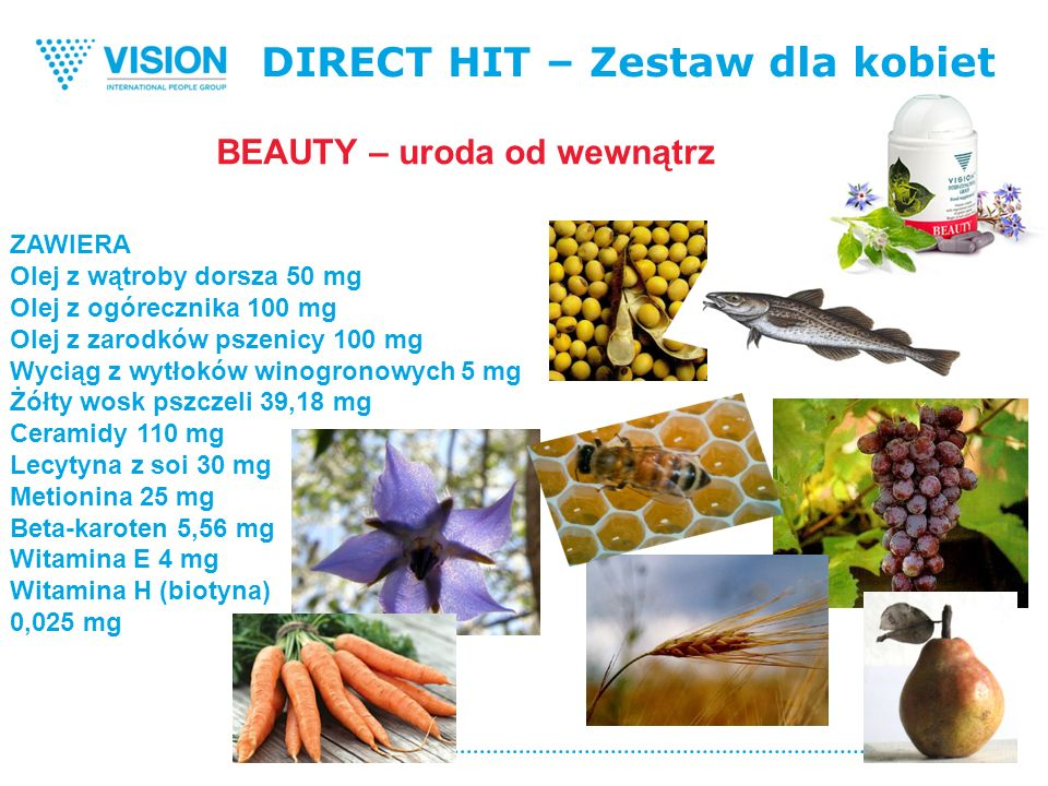 DIRECT HIT – Zestaw dla kobiet ZAWIERA Olej z wątroby dorsza 50 mg Olej z ogórecznika 100 mg Olej z zarodków pszenicy 100 mg Wyciąg z wytłoków winogronowych 5 mg Żółty wosk pszczeli 39,18 mg Ceramidy 110 mg Lecytyna z soi 30 mg Metionina 25 mg Beta-karoten 5,56 mg Witamina Е 4 mg Witamina H (biotyna) 0,025 mg BEAUTY – uroda od wewnątrz