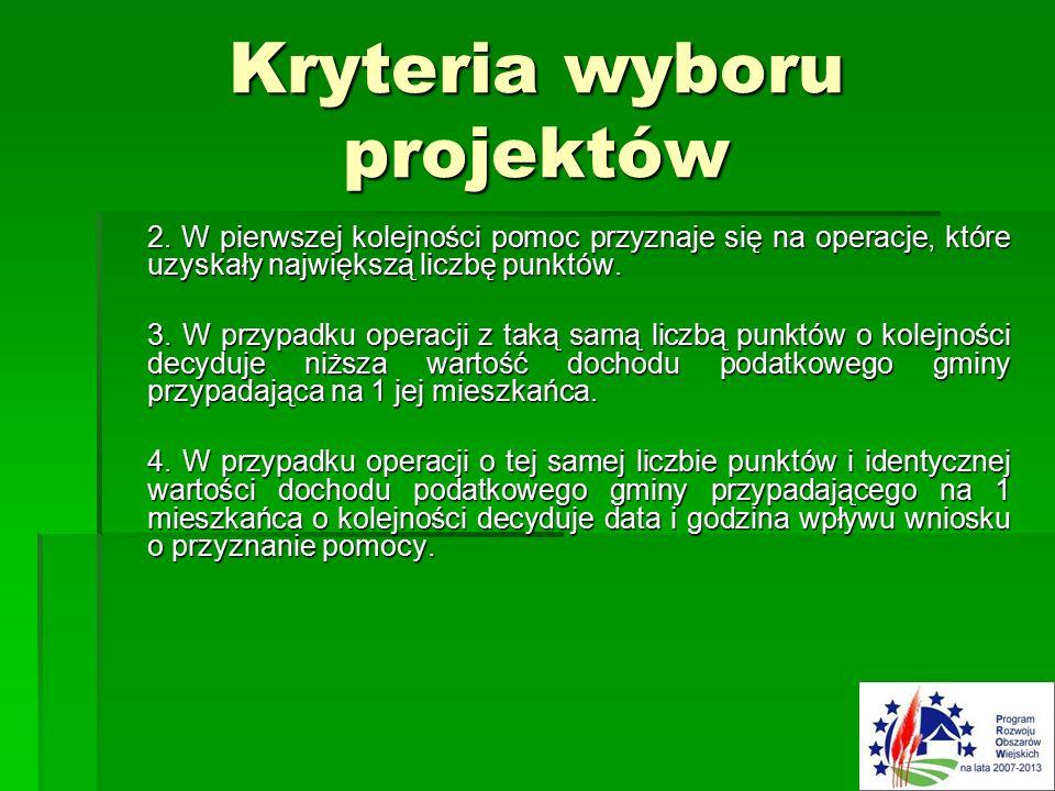 Kryteria wyboru projektów 2.