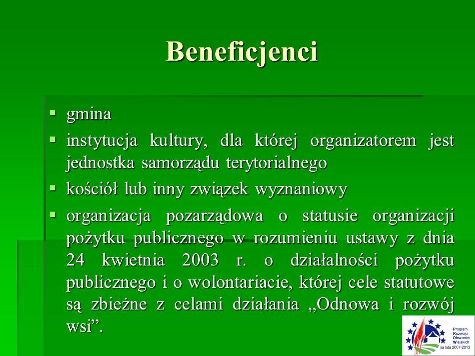 Beneficjenci  gmina  instytucja kultury, dla której organizatorem jest jednostka samorządu terytorialnego  kościół lub inny związek wyznaniowy  organizacja pozarządowa o statusie organizacji pożytku publicznego w rozumieniu ustawy z dnia 24 kwietnia 2003 r.