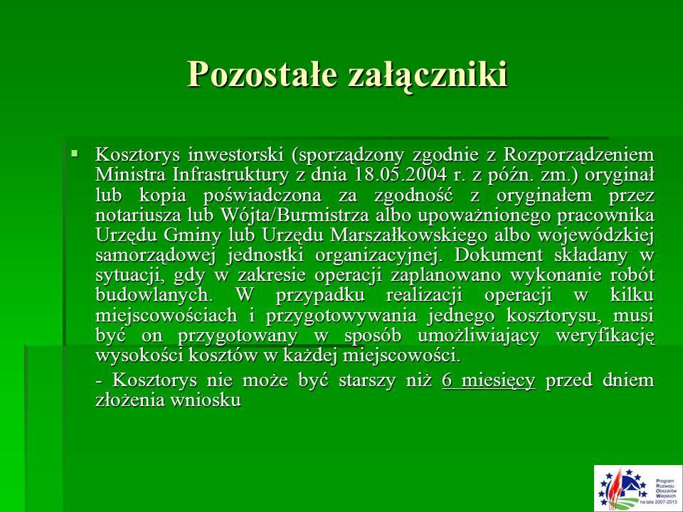 Pozostałe załączniki  Kosztorys inwestorski (sporządzony zgodnie z Rozporządzeniem Ministra Infrastruktury z dnia 18.05.2004 r.