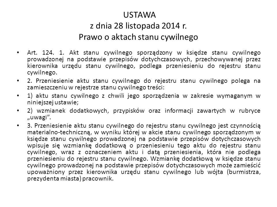 USTAWA z dnia 28 listopada 2014 r. Prawo o aktach stanu cywilnego Art.