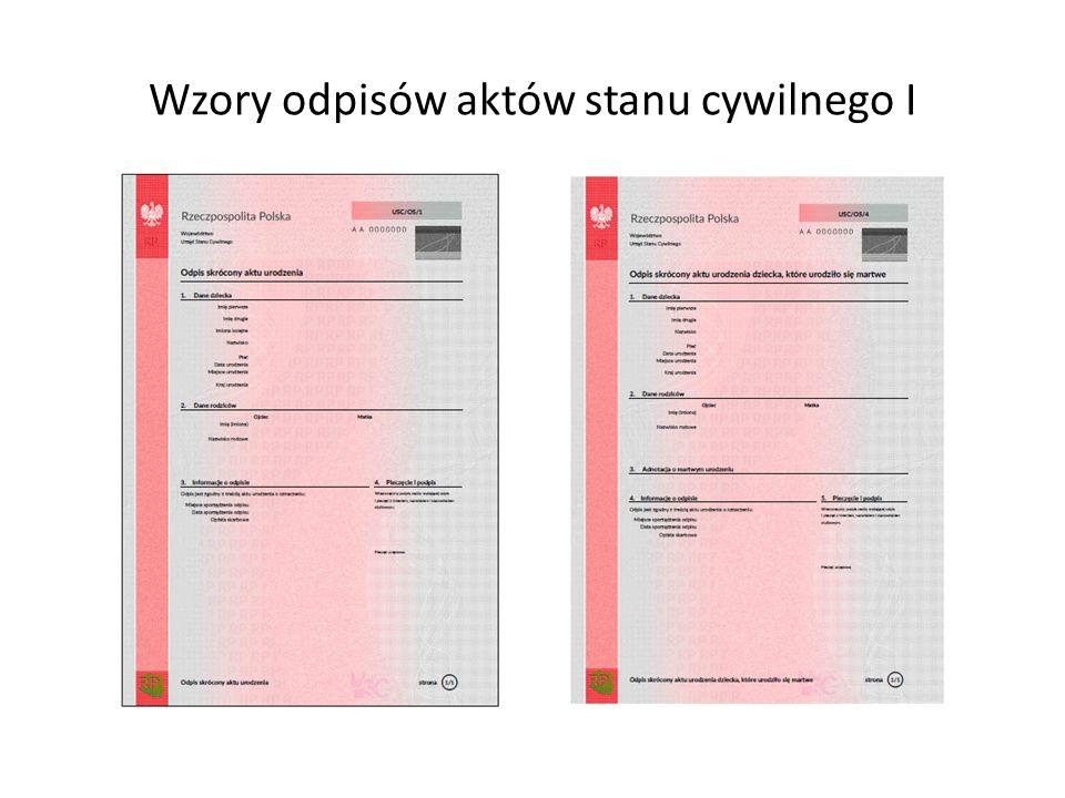 Wzory odpisów aktów stanu cywilnego I