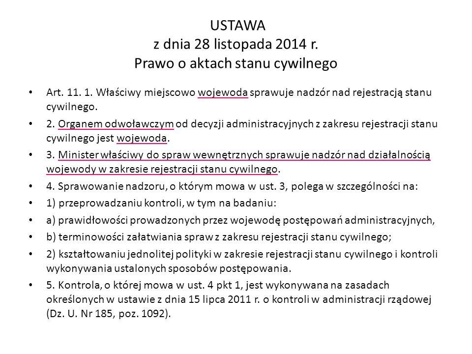 USTAWA z dnia 28 listopada 2014 r.Prawo o aktach stanu cywilnego Art.