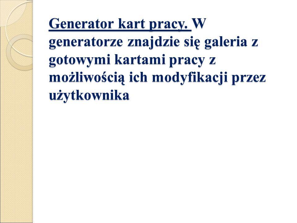 Generator kart pracy.