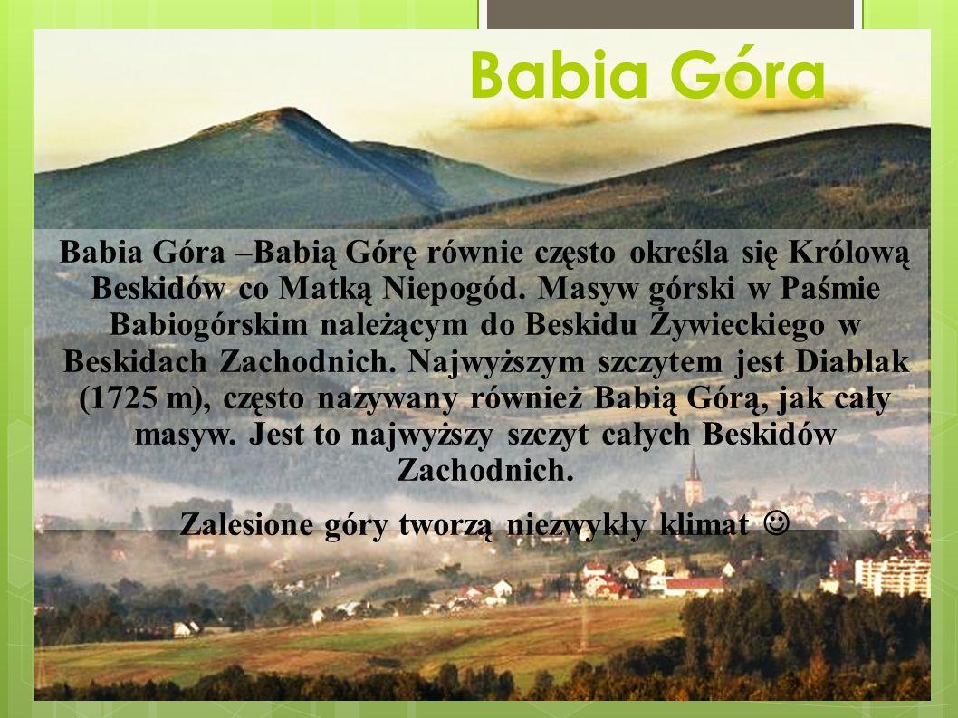 Babia Góra Babia Góra –Babią Górę równie często określa się Królową Beskidów co Matką Niepogód.