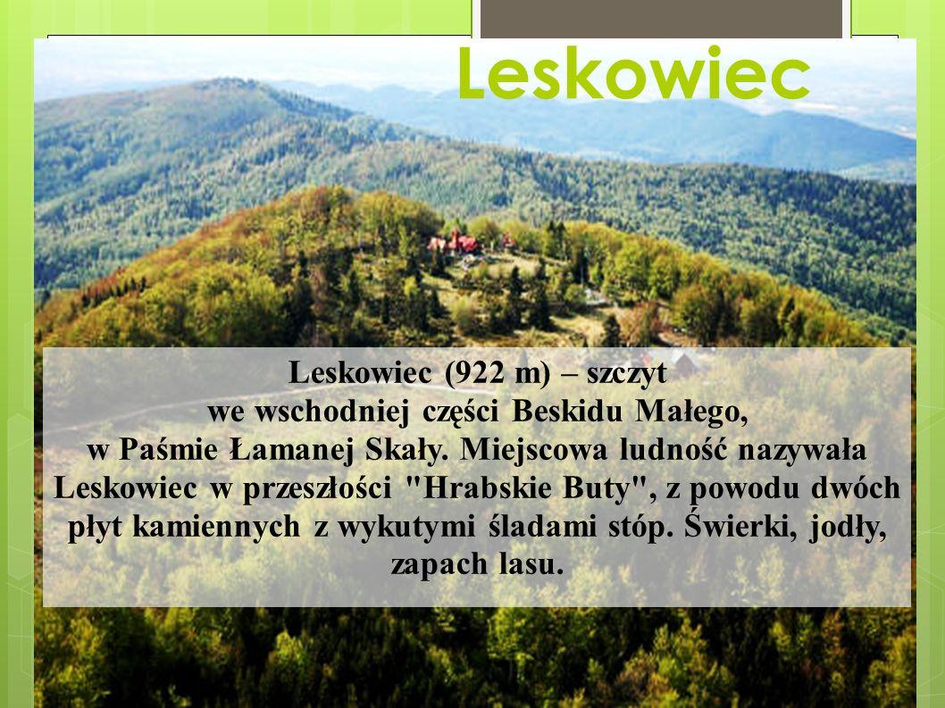 Leskowiec Leskowiec (922 m) – szczyt we wschodniej części Beskidu Małego, w Paśmie Łamanej Skały.