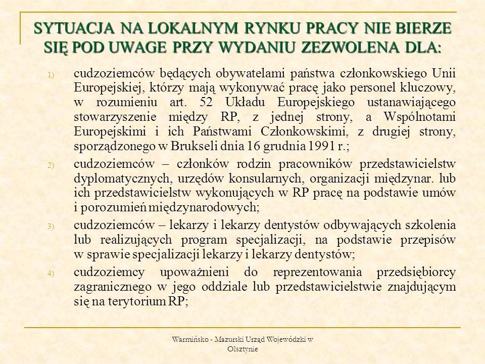 Warmińsko - Mazurski Urząd Wojewódzki w Olsztynie 1) cudzoziemców będących obywatelami państwa członkowskiego Unii Europejskiej, którzy mają wykonywać pracę jako personel kluczowy, w rozumieniu art.